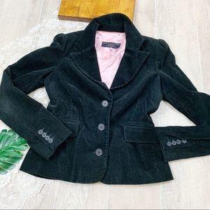 Juicy Couture Black Button Collar Corduroy Blazer